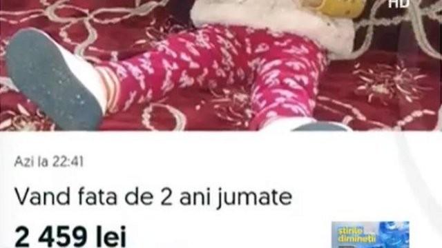 ŞOCANT: O fetiță de doi ani a fost scoasă la vânzare pe internet