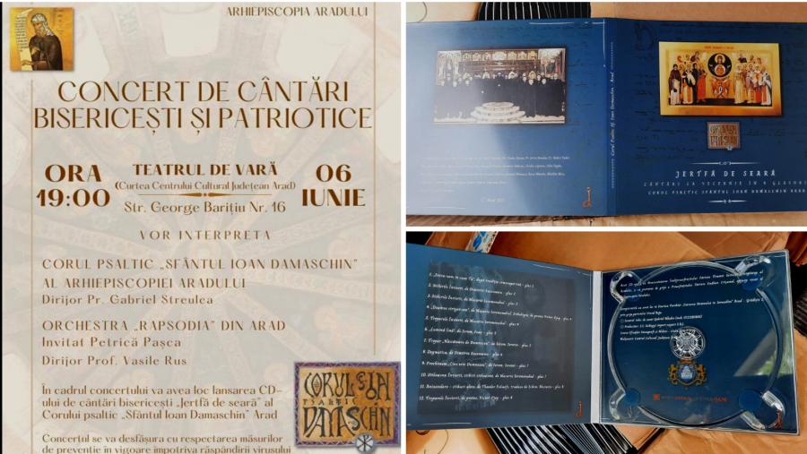 """Concert de cântări bisericești și patriotice, duminică, la Teatrul de Vară Arad. Corul psaltic """"Sfântul Ioan Damaschin"""" lansează CD-ul """"Jertfa de seară"""""""