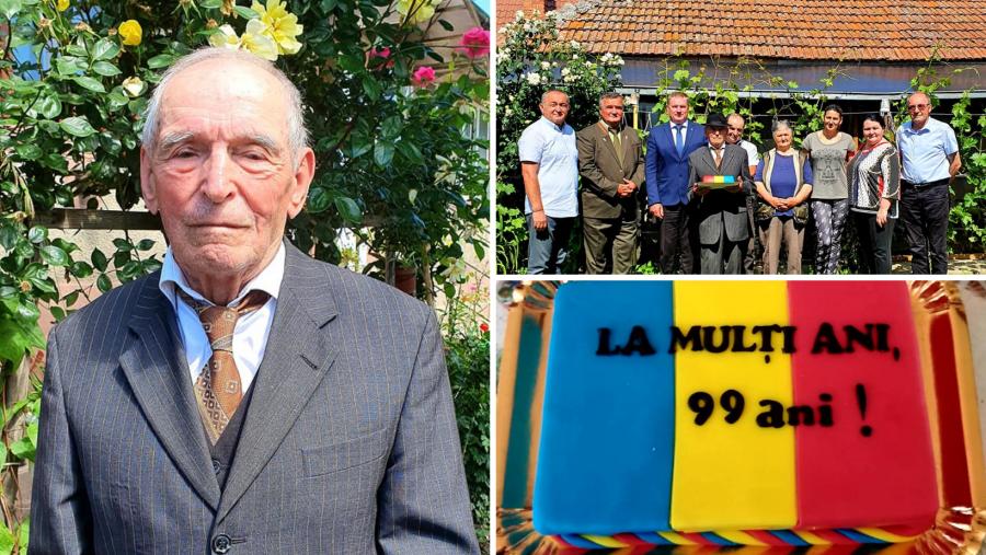 Veteranul de război Ioan Cerghedean, sărbătorit la împlinirea vârstei de 99 de ani