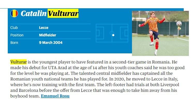 Fostul utist Vulturar inclus de jurnaliştii de la The Guardian în topul celor mai talentaţi 60 de fotbalişti din lume născuţi în 2004